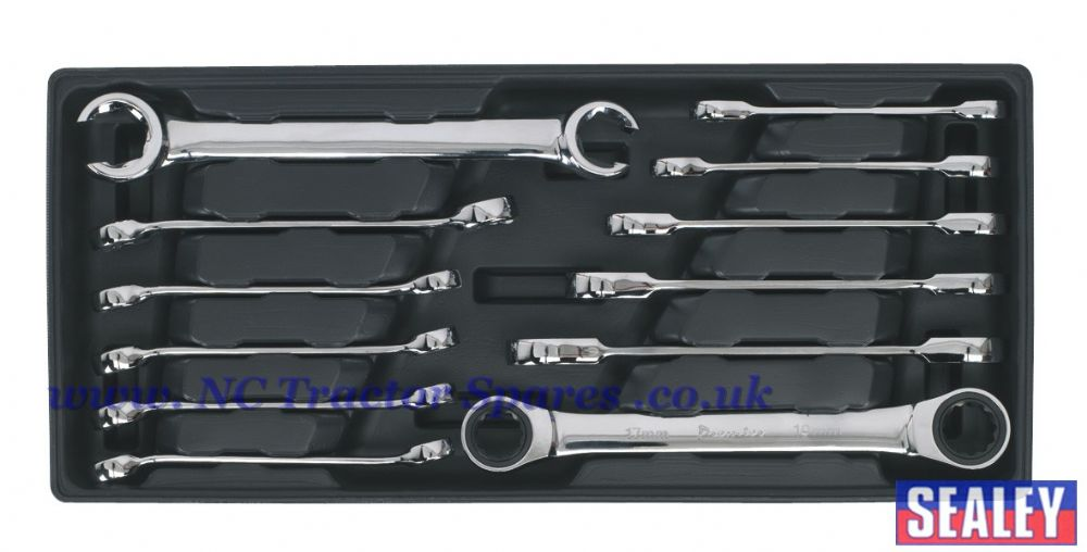 Tool Tray with Flare Nut & Ratchet Ring Spanner Set 12pc